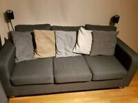 2 and 3 Seater Grey Fabric Sofas - As New Condition - Pet and Smoke Free Home