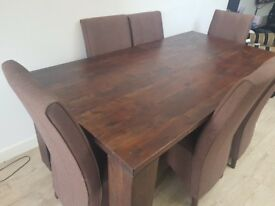 6 seater real Mango wood dining table