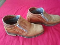 Brazilian leather low cut boots with rubber soles size 6 (barely used)