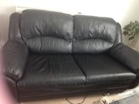 BLACK LEATHER 2/3 seater sofa