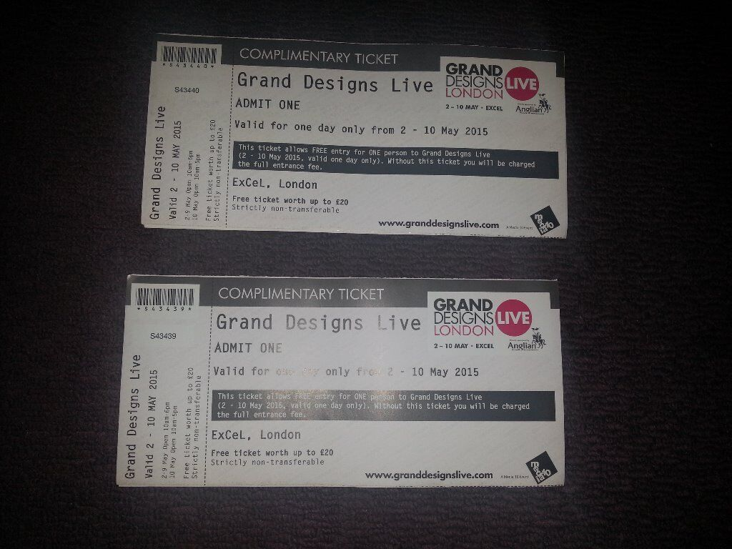 grand designs live x 2 tickets excel london 2 10th may 2015