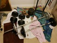 Over 100kg weights 2 bars 2 dumbells and extras