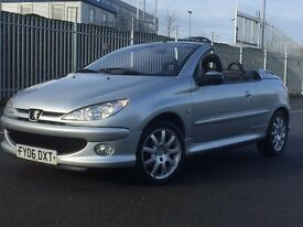 2006 PEUGEOT 206 CC CONVERTIBLE 1.6 PETROL * LEATHER INTERIOR * LONG MOT * PX WELCOME * DELIVERY *