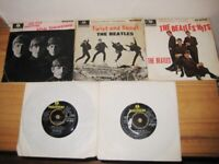 Nice Early Vintage Collection Of 5 Beatles Extended Play 7 Inch Vinyl Records.