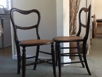Cane Seated Dark Wooden Chairs (pair)