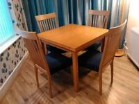 Solid Beech Extending Dining Table And Chairs