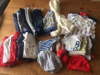 Large bundle of baby boy clothes 3-6 months