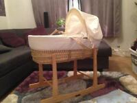 Moses basket with stand matress sheets and covers
