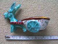 Vintage Collectable Volpi Deruta Italy Hand Painted Donkey & Cart Planter Italian