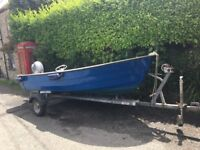 14ft Shetland Dolphin Boat with Yamaha 9.9hp 4 stroke outboard, Road Trailer