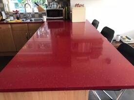 Red quartz worktop