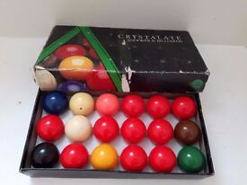 "Crystalate Snooker & Billiard Balls 18 x 1 7/8"" 47.5mm Boxed Set"