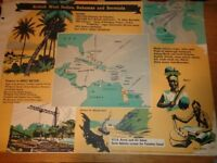 Vintage 1950's Educational Wall Poster Empire Information Project - British west Indies, Bahama....