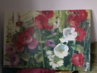 Canvas painting of flowers
