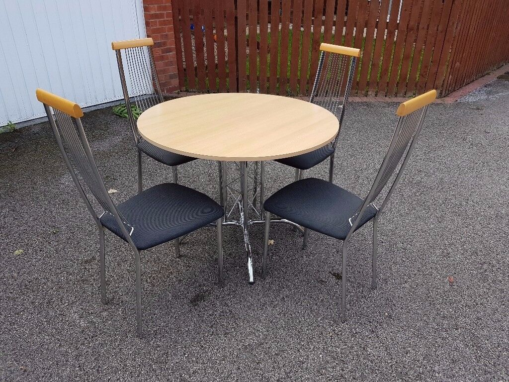 Round Italian Wood & Chrome Table & 4 Chairs FREE DELIVERY 027