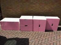 4 Pieces of Pink Stuva Ikea Furniture