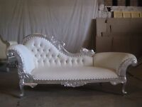 EX DISPLAY Paris Chaise Longue Sofa Ornate French in Silver leaf leather white asian wedding ornate