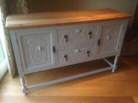 Carved Oak Sideboard - painted with Annie Sloan Paris Grey