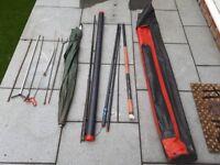 2 Fishing Rods, Fishing Pole and Umbrella