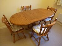 Drop leaf DINING TABLE + 4 CHAIRS with cushions. 1500 long (open) X 820 w, [5ft X 3.5ft]. Solid PINE