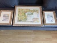 Original frames watercolour painting set of 3 by Cornish artist