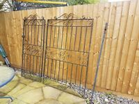 Large black metal gate