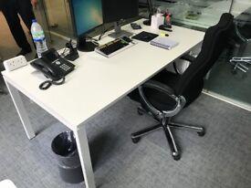 White Bene Office Desk with pedestal (W180cm x D100cm)