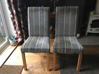 Set of mixed John Lewis and Habitat leather/suede x2 and velvet stripe x2 dining chairs.