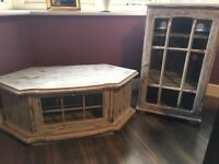 2 Solid Wooden Cabinets Distressed Rustic Vintage Effect