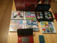 Nintendo 3ds with box and 18 games