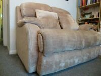 Two seater settee in gold draylon . Good clean condition