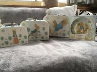 Peter rabbit lunch boxes/carry cases & collectors happy birthday official merchandise plate