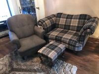 Beautiful two seater chair and footstool