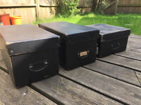 Retro style black storage boxes x 3