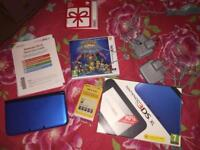 Nintendo 3DS XL blue with Pokemon Super Mystery Dungeon and two chargers (original box)