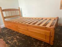 Single solid wood Bedframe with underneath drawers (Julian Bowen)