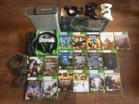 Xbox 360, 18 games, 2 controllers and a turtle beach headset.