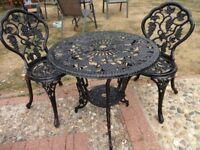 CAST ALUMINIUM GARDEN / PATIO SET - TABLE AND 2 CHAIRS -