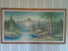 Large oil painting of mountain and river