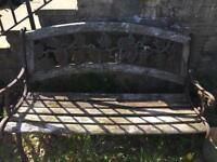 Outdoor Wooden Garden Bench Furniture Cast Iron Grape Design - SOLD