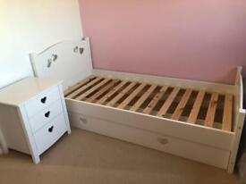 Mia single bed with under bed drawer and bedside table