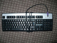 5 used computer keyboards and mice with old round endings. In good working condition.