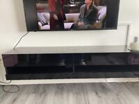 Black wood with gloss panels floating tv stand