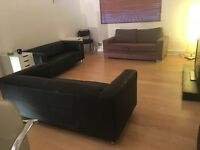 FOR COLLECTION FRI 14th 3PM - 2 smart black sofas