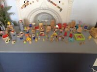 Large collection of wooden dolls house furniture etc