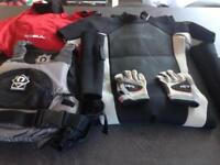 O'neill wet suit, Gul waterproof, life saver vest and gloves.