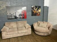 HARVEYS FABRIC SOFA AND CUDDLE SWIVEL ARMCHAIR VERY COMFY FREE DELIVERY