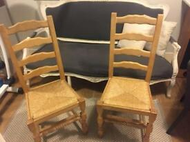 Pine ladderback dining chairs