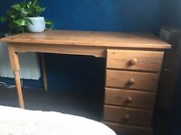 Pine desk with matching bedside drawers