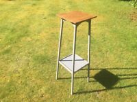 Hand Painted Vintage Plant Stand with Oak Top
